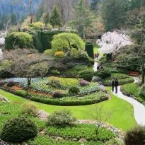 High View of Butchart Gardens Victoria British Columbia in Spring Unrecognizable people in background.